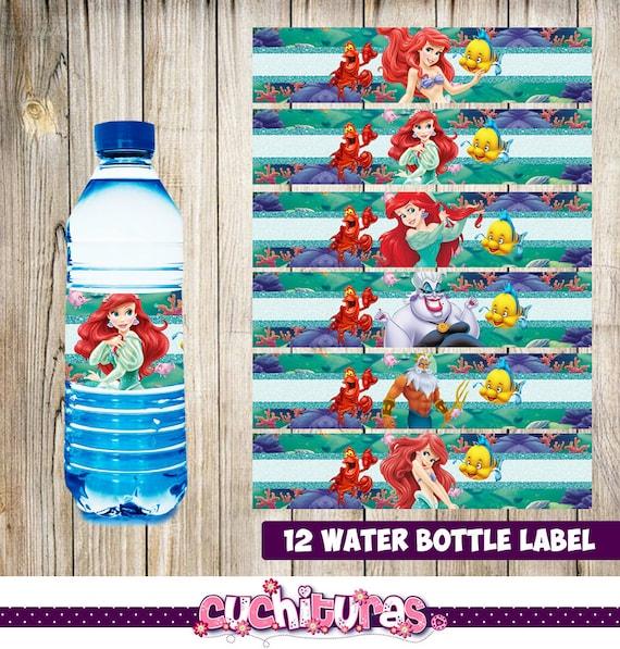 Water Bottle Name Tags: 12 Little Mermaid Water Bottle Label Instant Download