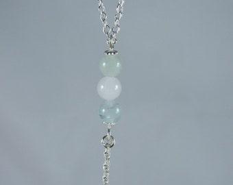 Beryl stone bead tassel necklace, beaded necklace, beryl stone necklace, y necklace,  gift for her, silver necklace