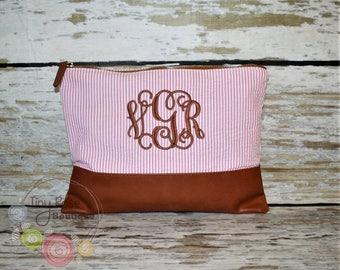 Monogrammed Seersucker Cosmetic Bag, Clutch, Makeup Case - Pink Seersucker