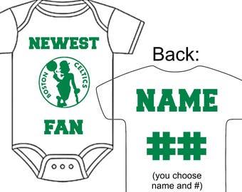 Custom baby socks etsy newest boston celtics fan custom made personalized basketball gerber onesie jersey optional socks hat choose name negle Images