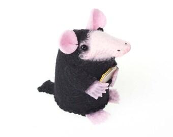 Niffler Mouse - Fantastic Beasts inspired felt art mouse artisan rat mice gift for Harry Potter fan girlfriend wife sister mom bookworm