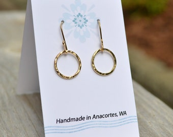 Gold Hoop Earrings, Small Gold Circle Earrings, Hammered Circle, Gold Jewelry, 14KT Gold Fill, Gold Dangle Earrings, Simple, Gift Under 30