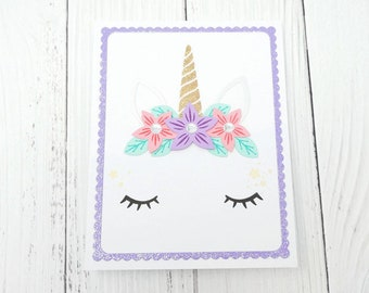 Birthday Card, Unicorn Birthday Card, Happy Birthday Card, Unicorn Card, Kids Birthday Card, Handmade Greeting Card, Hand Stamped Cards