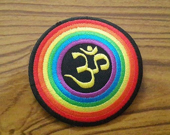 Ohm Iron on Patch - Rainbow Ohm Applique Embroidered Iron on Patch
