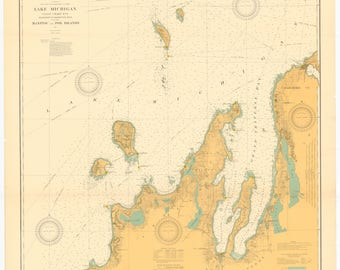 Lake Michigan - Manitou and Fox Islands Historical Map 1926