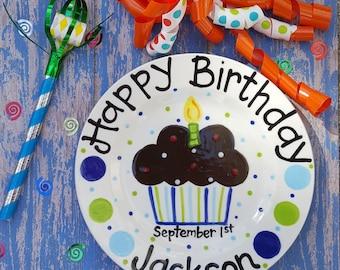 8 inch Personalized Ceramic Birthday Plate Custom Painted Cupcake Plate Birthday Plates Celebration  sc 1 st  Etsy & 10.5 inch Personalized Ceramic Birthday Plate Custom Painted