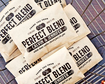 The Perfect Blend - Personalized Wedding Coffee Favor Bags  - Paper Coffee Bean Wrap - DIY Favor - 20 Kraft Wedding food Bags