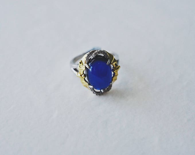 Good fortune, blue corundum, 925 silver, open ring