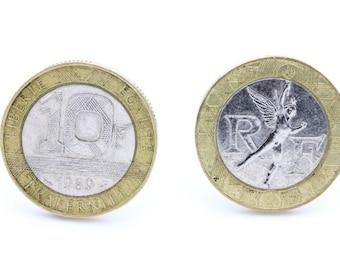 "Coin Cufflinks "" France "" 10 francs Génie de la Bastille. TMPL_SKU005465"