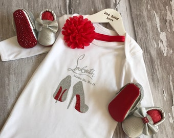 Sparkly Red Sole Baby Romper & Matching Moccasin Pram Shoes - Diamanties, bling bows -Like Mummy's Louboutins but Designer Inspired!