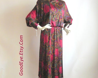 Vintage All Silk Day Dress Tiger Print / size 6 8 10 /Colorful Red Paisley 90s Designer Norma Walters / Knee Length Button Back