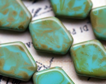 Turquoise Picasso Pentagon Beads - Czech Glass Beads - Bead Soup Beads