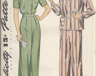 Vintage Simplicity Sewing Pattern # 4757 from 1943.   Misses' and Women's Two-Piece Pajama or shirt and pants.  Bust 34  Great vintage look!