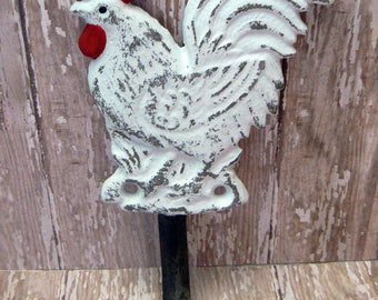 Rooster Shabby Elegance Classic White Red Detail Cast Iron Wall Coat Towel Pet Leash Hook Rustic French Country Kitchen Bathroom Hook