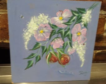 Original Oil Painting of Apples, White and Pink Flowers Picture Floral Fruit Apple