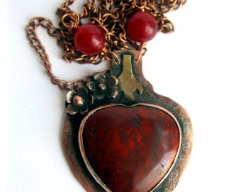 Handcrafted Unique Copper Necklace Pendant with  Red Agate heart. Copper Pendant