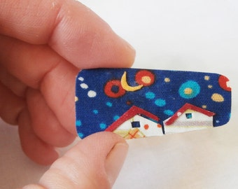 blue textile brooch night little house-polka dot fabric-rectangle shape pin-free shipping to Greece