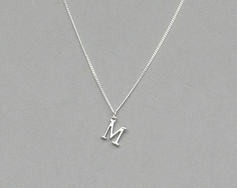 Silver Plated Initial M Necklace 113