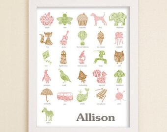 Personalized Alphabet Poster Letter Wall Art Custom Children's Room Name Print Decor Love Letters Series