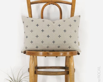 Geometric crosses lumbar pillow case in gray and beige | 16x16 or 12x18 throw pillow, cushion cover | Modern & Mid Century Home Decor
