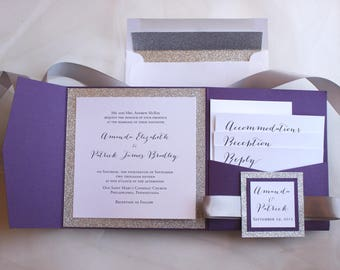 Purple Wedding Invites, Silver Glitter Invites,  Pocket Wedding Invitations, Dark Purple Invitations, Sparkling Violette Pocketfold Sample