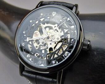 Black Mechanical Wrist Watch with Black Leather Wristband -  Men's Wrist Watch - Personalized Gift - Women's Wrist Watch - Item MWA120ok