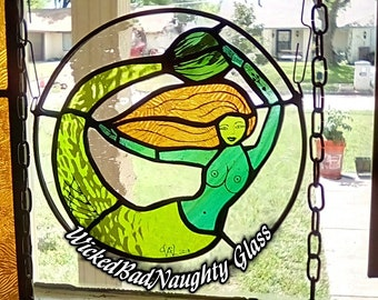 WickedBadNaughty Glass Green & Teal Green Siren Mermaid Window Suncatcher