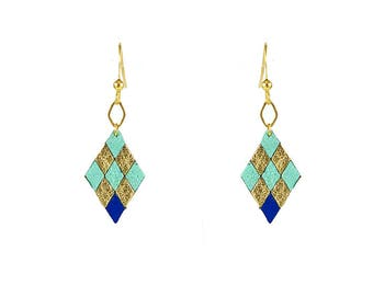 electric blue, mint and gold diamond shaped leather earrings