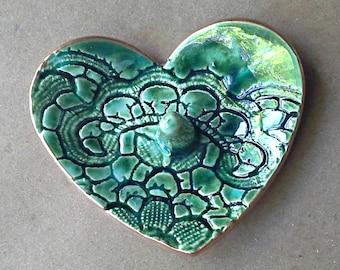 Ceramic Ring Holder Bowl Peacock Green gold edged