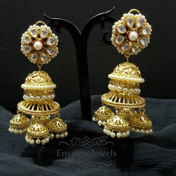 Jhumka earrings indian jewelry chandelier earrings gold like this item aloadofball Images