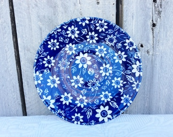 Country Cupboard saucers, blue and white chintz flowers, Johnson Brothers floral ironstone plates rustic farmhouse 5 3/4 inch sold singly