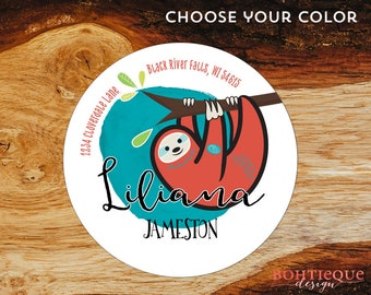 Liliana Sloth Custom Return Address Stickers with Color Options