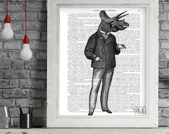 Triceratops Print 1 - dinosaur print dinosaur illustration dinosaur decor gift for Groomsman gift for Groomsmen gift art for boys room decor