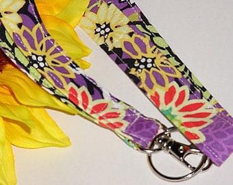 ID Badge Holder, Lanyard, Key Holder - Retro Wild Lavender Lanyard