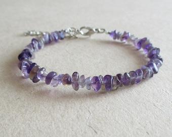 Purple amethyst gemstone chip beads beaded bracelet