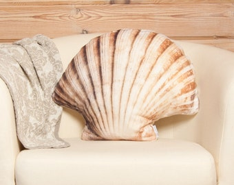 Scallop Seashell Pillow – Accent Pillow, Sea Decor, Novelty Cushion in Shape of Scallop