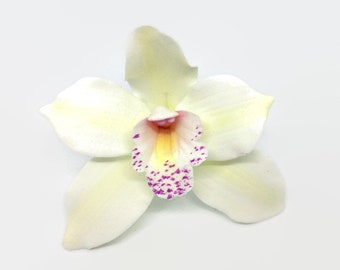 Cymbidium Orchid Sugar Flower, white gumpaste orchid for tropical wedding cake toppers, bridal showers, diy brides, fondant cake decoration
