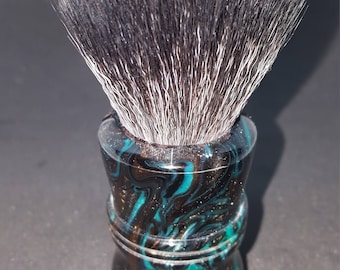 Beuatiful Black Peacock Acrylic Shave Brush, 24mm Black Boss Knot No. 116