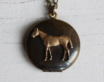 Horse Locket, Horse Necklace, Horse Lovers Gift, Personalized Gift for Her, Customized Photo Jewelry, Pony Necklace