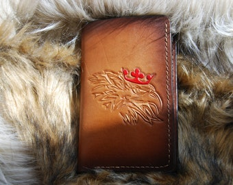 Medium Veg tanned leather purse, Saab , Scania,V8 , Men Wallet, Trucker Wallet,Dark brown, black red , Great gifts, Handtooled ,card  purse