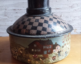 Folk Art Painted 1950's Kerosene Container by folk artist M. L. Edwards.  Nicely Done. Very Collectible. Nicely Repurposed Art.