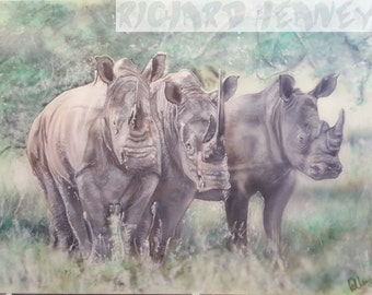 Rhinos airbrushed on 24x18 inch canvas