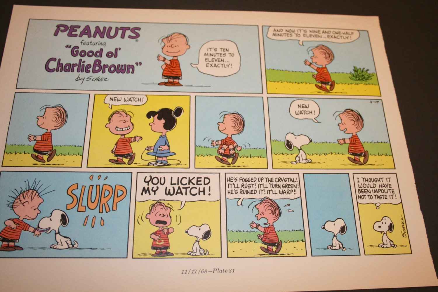 Linus has a watch Charlie Brown comic Peanuts gang Retro