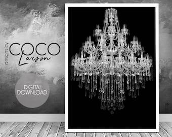 Crystal chandelier print, bedroom wall art, chandelier printable, modern wall art, bathroom wall art, black white chandelier, digital print