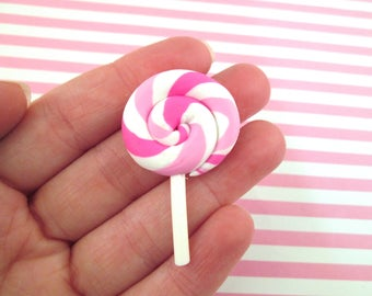 3 Pink Polymer Clay Lollipop Cabochons Fake Candy, #038