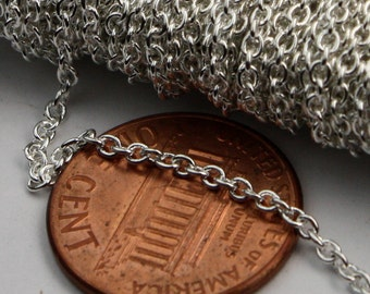 Sterling Silver Plated Chain bulk Chain, 32 ft of Round Soldered Chain Cable Chain - 2x2.5mm SOLDERED link - Necklace Wholesale chain