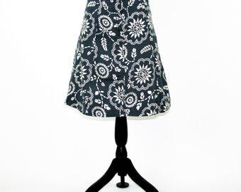 Cotton Skirt Women Small Blue and White Midi Skirt Aline A Line Skirt Block Print Casual Skirts for Women Size 4 Skirt GAP Womens Clothing