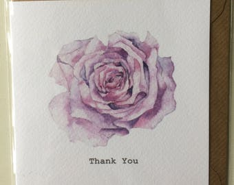 Pink Rose Thank You Embellished Card taken from an Original Watercolour / Notelets / Birthday Cards / Thank you Cards / Blank Cards