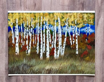 Birch Trees in Fall Acrylic Painting