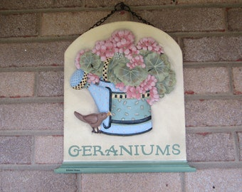 Springtime Geranium Garden Wall Plaque-by Debbie Mumm
